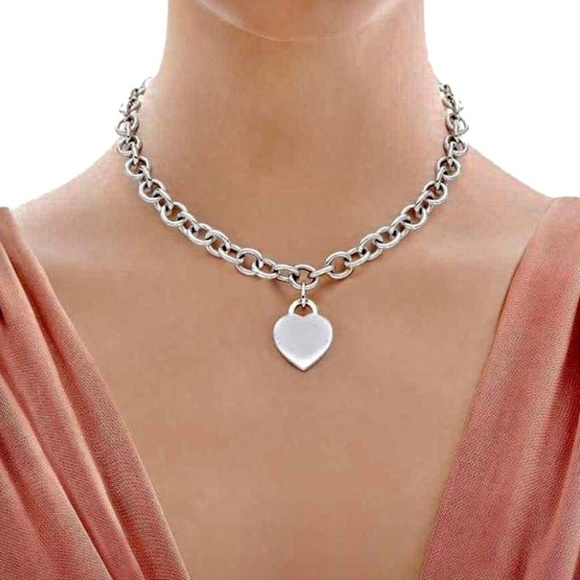 eea75dcb7 Tiffany & Co. Jewelry | Tiffany Heart Tag Necklace Sterling Silver ...